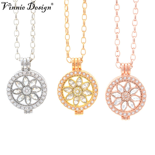 Vinnie design jewelry my coin pendant necklace with lotus flower vinnie design jewelry my coin pendant necklace with lotus flower crystal coin and 25mm coin holder aloadofball Images