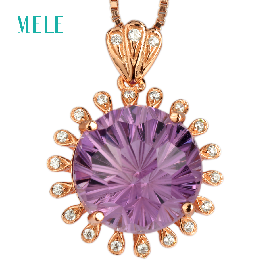 цена MELE Natural deep amethyst silver pendant, round 12mm, firework cutting craftsman, best choice for gift