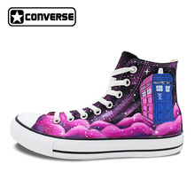Pink Converse All Star Women Men Shoes Galaxy Police Box Custom Design Hand Painted High Top