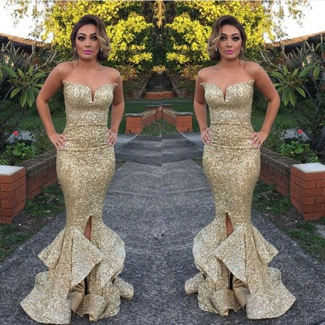 Sexy Gold Sequins Mermaid Bridesmaid Dresses 2015 Sweetheart Zipper Back  Gold Maid of Honor Dress Wedding Party Dress d51c2d9d9f18