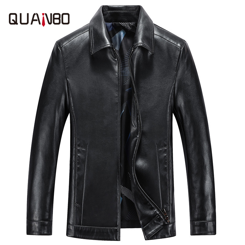 Spring And Autumn Quality Men Genuine Leather Jacket Business Casual Sheep Skin Turndown Coat Black Men Biker Leather Jacket(China)