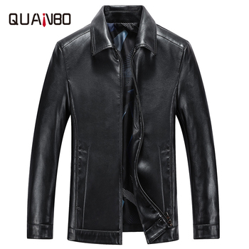 Spring and Autumn Quality Men Genuine Leather Jacket Business Casual Sheep skin Turndown Coat Black Biker - discount item  50% OFF Coats & Jackets