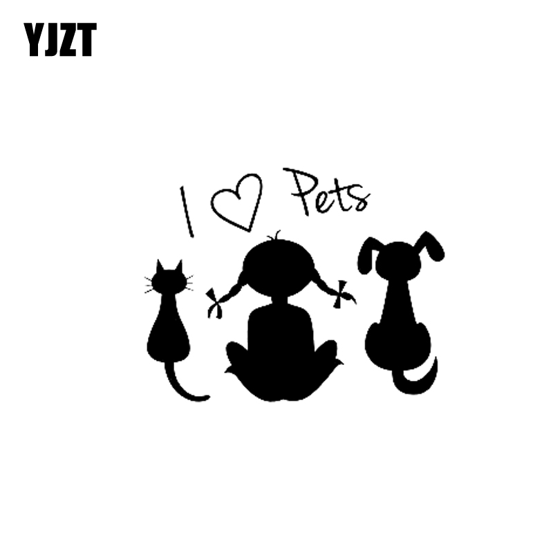 YJZT 15.6CM*12.3CM Vinyl Decal I Love Pets Baby Girl Dog Cat Car Sticker Black Silver C10-02392