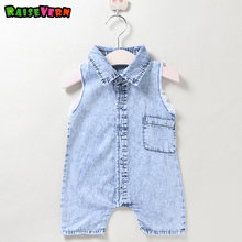 6896b1600485 Raisevern Hot Sale Baby Girl Boy Soft Sleeveless Denim Overalls Newborn  Infant Rompers Fashion Kids Jumpsuit