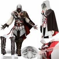Athemis Assassin's Creed II Эцио Карнавальный Костюм Любой размер куртка свитер шляпа высокого качества ткани и смолы аксессуары 16 шт.