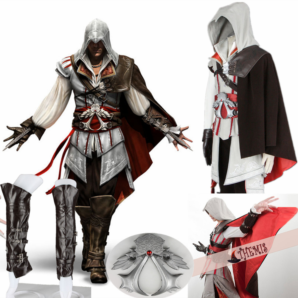 Athemis Assassin's Creed II Ezio cosplay costume Any size Jacket sweater hat high quality fabric and resin accessories 16 PCS