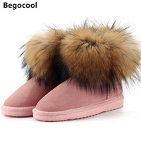 Top Fashion Cow Suede Leather 100 Natural Fox Fur Women Short Winter Ankle Snow Boots For
