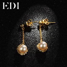 EDI Women 14k 585 Yellow Tassels Earrings Genuine Natural Freshwater Pearls Moissanite Drop Earring For Wedding
