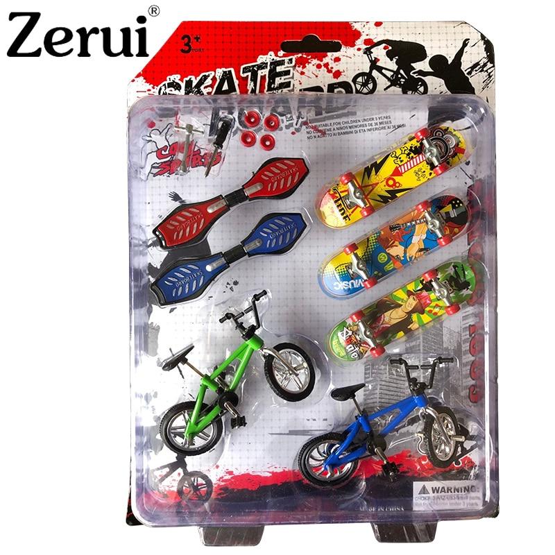 New 8pcs/set Mini Finger Skateboarding Fingerboard Finger BMX Bicycle Set Fun Skate Boards Scooter Finger Bikes Toys  Kids Gifts