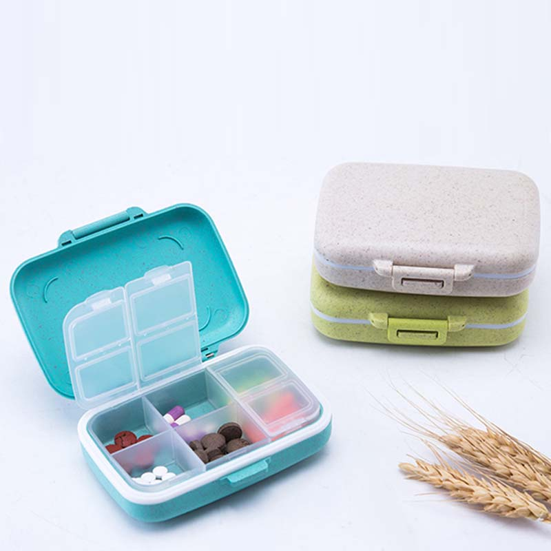 Portable Grain Fiber Material Mini Pill Container Drug Tablet Storage Case Travel Case Weekly Carry-on Holder Pill Box Medicine
