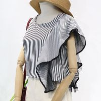 Elegant Striped Shirts Ruffles Women T shirts Summer 2019 Tshirts Top Tees Plus Size Korean Shirts Short Sleeve SA139S50