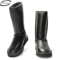 GONCALE Classic High Suede Real Sheepskin Leather Fur Lined Rubber Sole Winter Snow Boots For Women