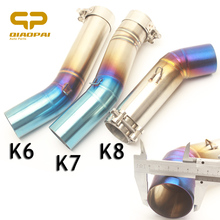 Motorcycle Exhaust Middle Link Pipe Half Blue Exhaust Connector Mid Pipe Slip On For K6 K7 K8 GSXR600 GSXR750 GSXR 600 GSXR 750 motoo motorcycle exhaust muffler link pipe carbon fiber exhaust middle pipe escape for suzuki gsxr 600 gsxr 750 2011 2017