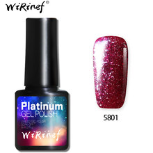 WiRinef 10colors Super Shiny Platinum Nail Gel Polish Starry Glitter Effect Uv Led Lacquer Nail Art Bright Gel(China)