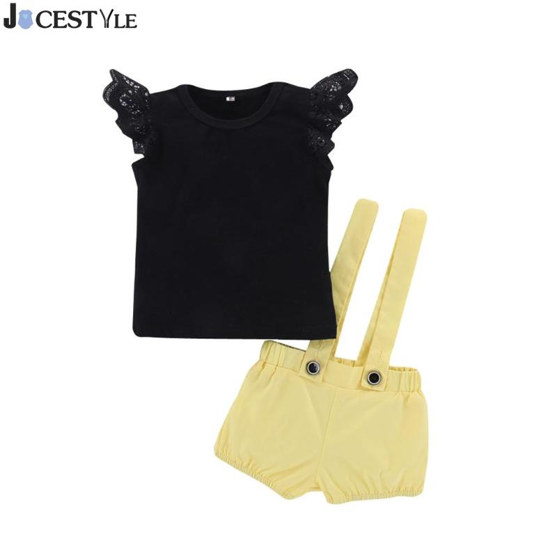 2pcs Baby Girls Clothing Set Fashion Summer Infant Lace Fly Sleeve T-shirt O-Neck Tops Bib Shorts Overalls Suit Outfits