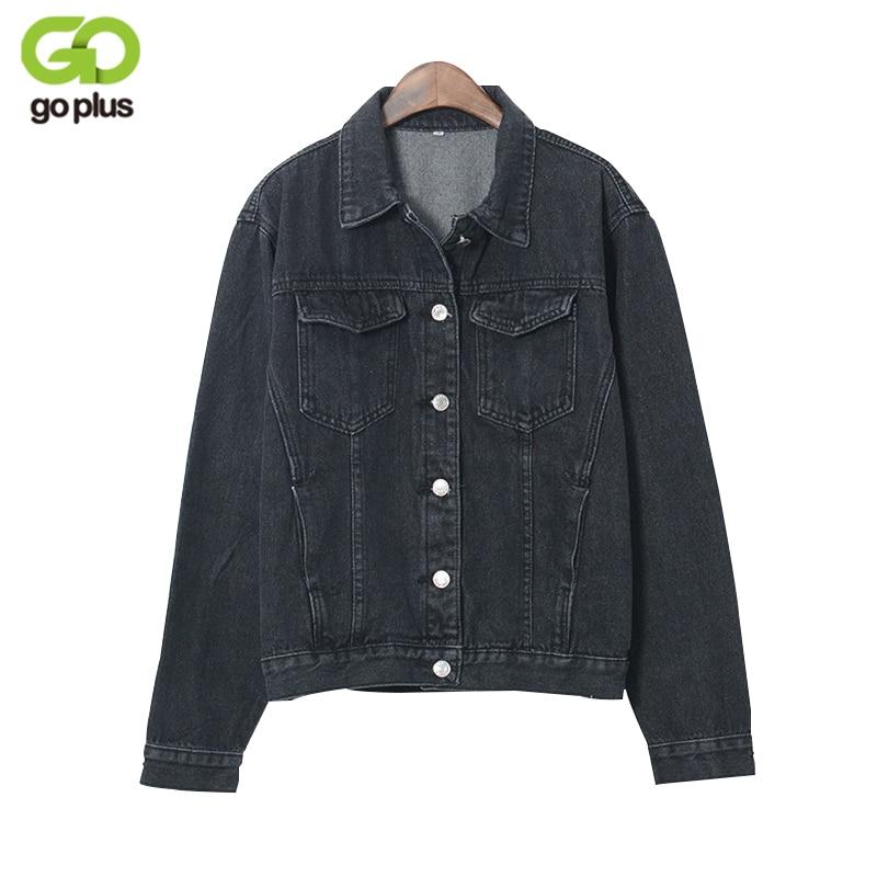 GOPLUS 2017 Fashion Black Vintage BF Denim Jacket <font><b>Jeans</b></font> Autumn Women Basic Coats Short <font><b>Jean</b></font> Plus Size Outerwear C3016
