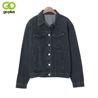 2016 Fashion Black Vintage BF Denim Jacket Jeans Autunm Women Basic Coats Short Jean Plus Size