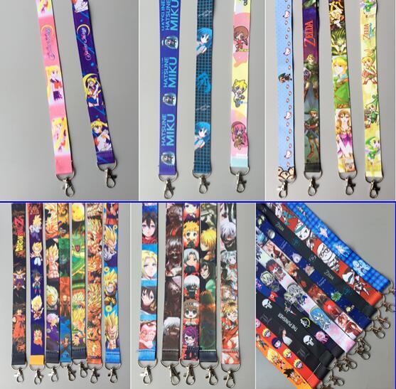 Lot 100 pcs 일본 애니메이션 만화 색상 혼합 목 스트랩 lanyards 휴대 전화, id 카드, 열쇠 고리 어린이 파티 선물 Mm 02-에서열쇠고리부터 쥬얼리 및 액세서리 의  그룹 1
