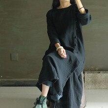 2015 Women Autumn Plus Size Robe High Quality Design Slant Cardigan Cotton Linen Loose Maxi Dress Elegant Vintage Swing Vestidos