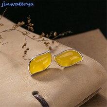 Jinwateryu, модные ювелирные изделия, Стерлинговое серебро 925, серьги-гвоздики для женщин и девушек, Зеленый Хризопраз, синие, белые, красные, желтые серьги