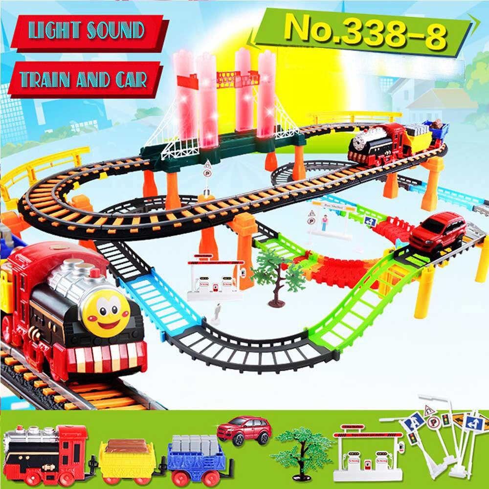 Lumineux et Musique Assemblée Puzzle Racing voie de train en jouet Route Modèle Fentes De Course Jouet voiture électrique ensemble de jouet enfants de jouets pour les garçons