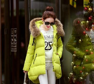 New 2015 Winter Women Thick Down Coat Warm Long Fur Coat Slim Down Cotton Padded Women Parka Coat Women Down Cotton Jackets A119