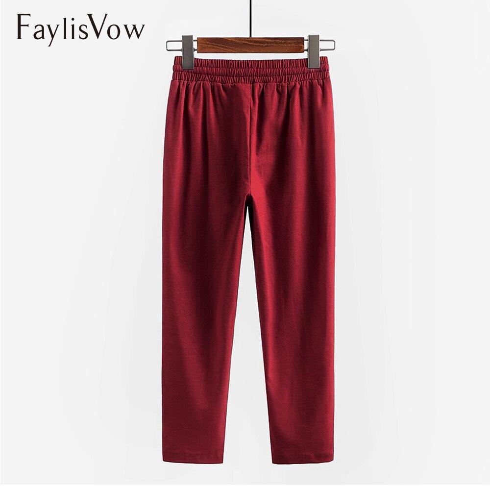 Plus Size Pants Linen Capris Women Bottom Loose Solid High Elastic Waist Pants Spring Autumn Ladies Office Trousers 4XL 5XL