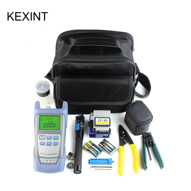 KEXINT FTTH optical fiber tool kit with FC 6S cleaver and visual fault locator wire stripper tool