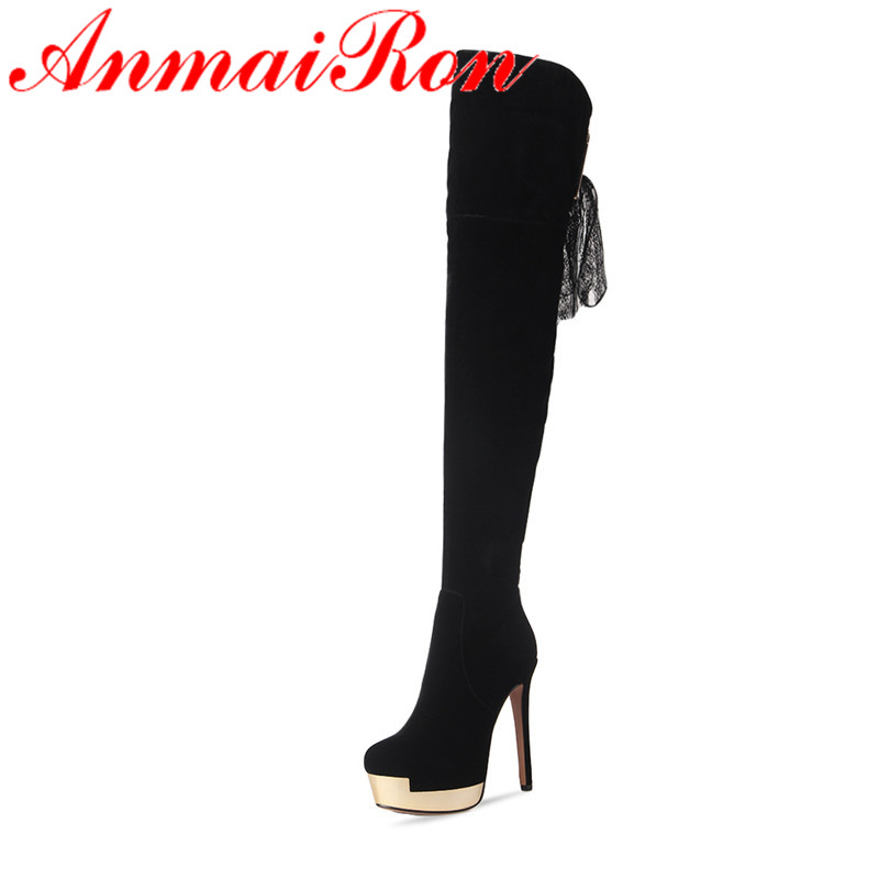 ANMAIRON High Heels Lace Charms Shoes Woman Over-the-knee Boots Zippers Round Toe Long Boots Size 34-39 Black Winter Boots Shoes футболка print bar renegades team