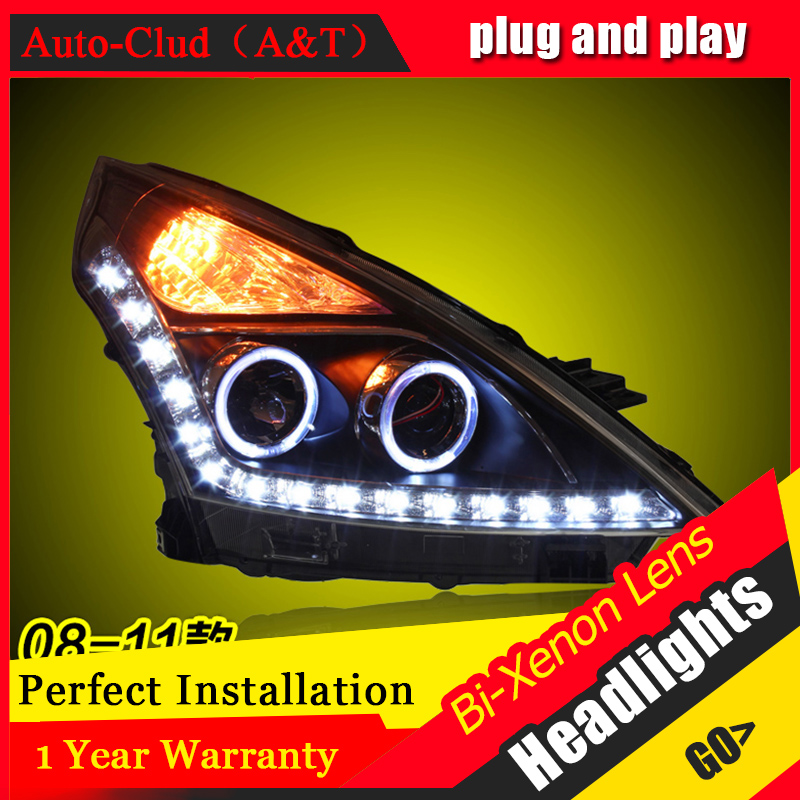 Car Styling For Nissan TIIDA led headlight 2008-11 For TIIDA head lamp Angel eye led DRL front light Bi-Xenon Lens xenon HID KIT car styling for chevrolet trax led headlights for trax head lamp angel eye led front light bi xenon lens xenon hid kit