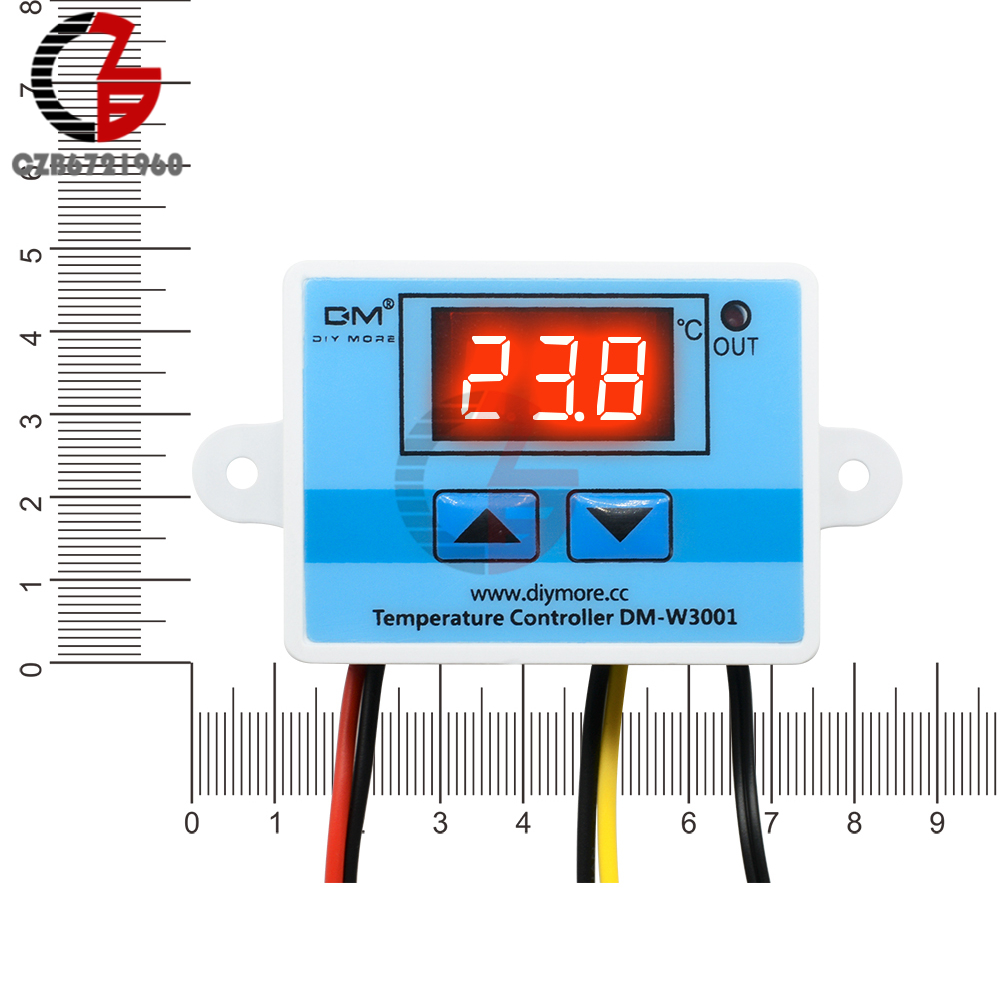 <font><b>XH</b></font>-<font><b>W3001</b></font> <font><b>W3001</b></font> DC 24V Digital LED Display Temperature Controller Thermometer Thermo Controller Switch with NTC Waterproof Probe image