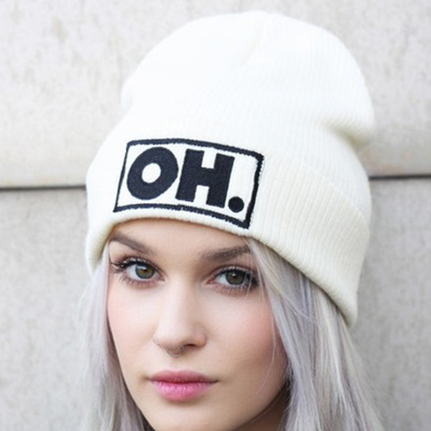 Women Knitted Hats for Girls Beanie Cap Fashion women's Autumn Winter Hats For Female Unisex Embroider Letter OH Warm Gorras цена и фото