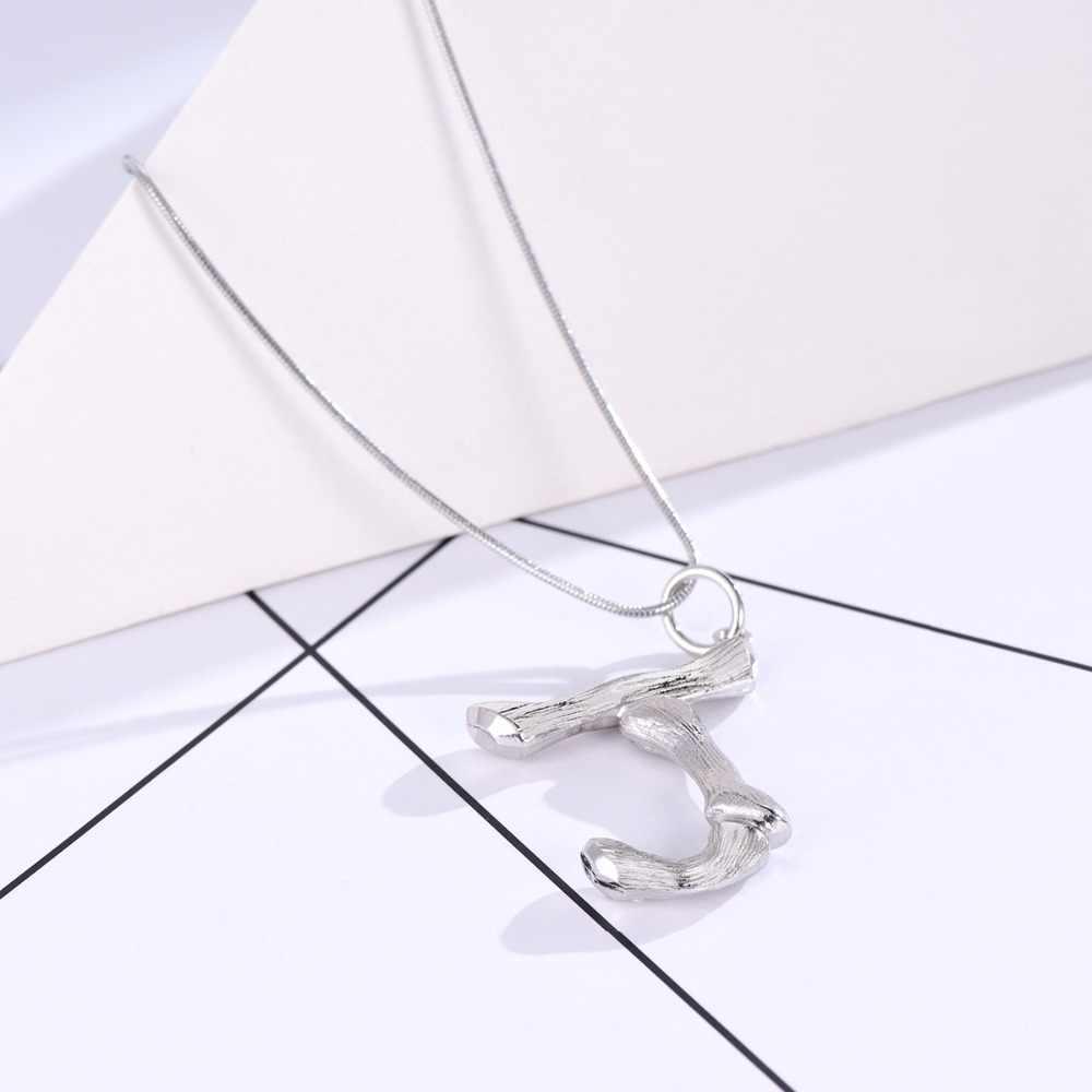 U7 初期 3D 竹ペンダントネックレスギフト男性/女性ヘビチェーン合金ジュエリー 26 手紙 A-Z ネックレスシルバー色 P1212