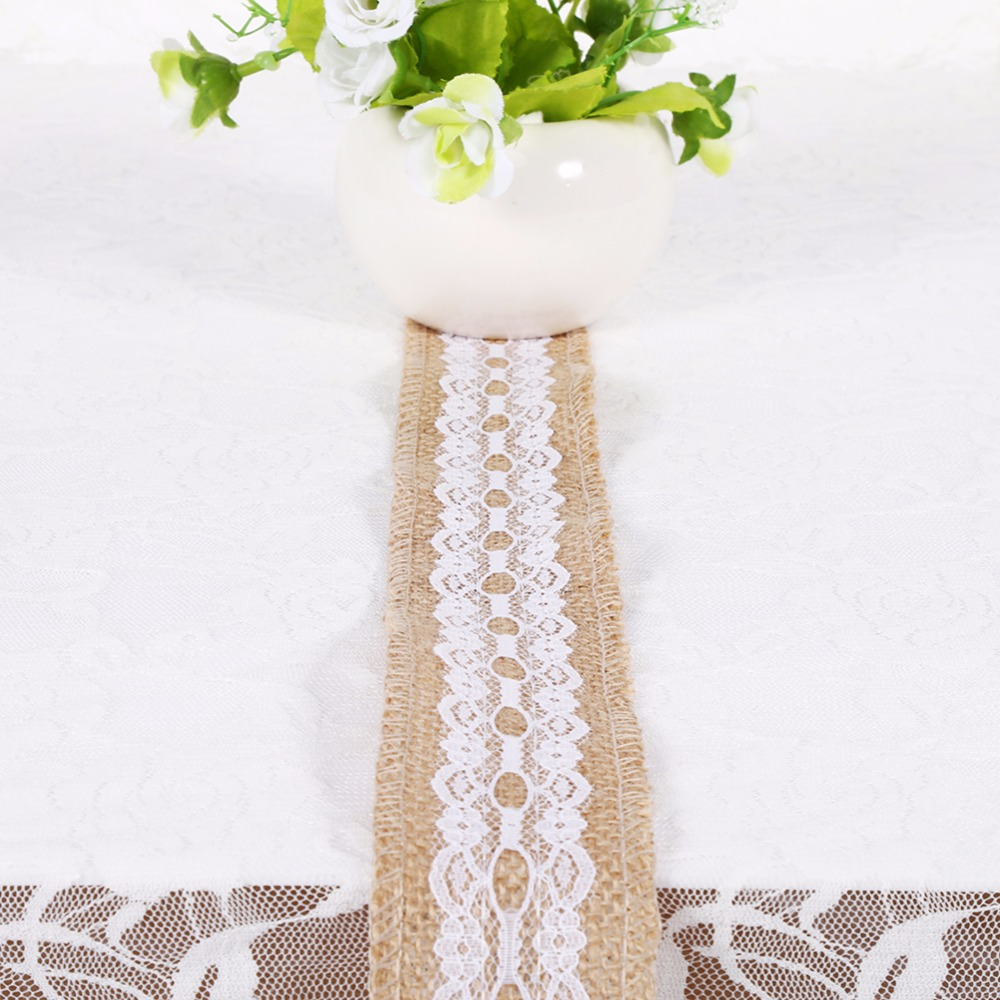 2M Burlap Hessian Lace Wedding Decoration Vintage Rustic Jute Ribbon ...
