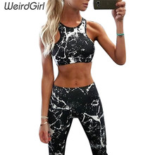 Weirdgirl new Suit Women Tracksuit Set Ink painting Printed Fitness Set Sportswear Leggings Tight Jumpsuits Sportwear Clothing