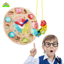 Baby Kids Childrens Educational Wooden Puzzle Toys Colorful Wooden Zodiac Digital Clock Color Recognition Toy Science Toys