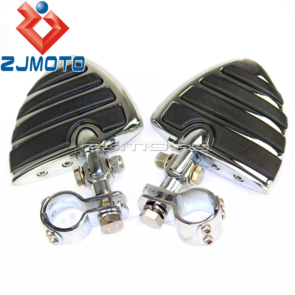 Motorcycle Chrome Aluminum Wings Clevis Footpegs 1 1/4 Engine Guards For Harley Honda Footrests Foot Rests