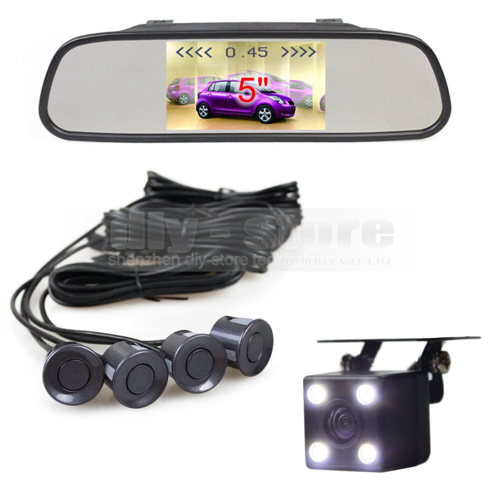 DIYKIT 5Inch Car Mirror Monitor Video Parking Radar 4 Sensors + 4 x LED Ccd Car Rear View Car Camera Parking Assistance System diykit 9 inch tft lcd display rear view car mirror monitor with 2 video input for parkign system car ccd camera cam dvd