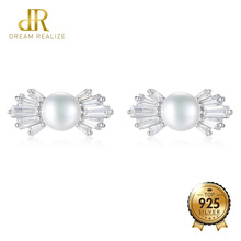DR Brand 7-7.5mm Natural Freshwater Pearl Bowknot Stud Earrings Fine Wedding for Women Bridals Luxury Jewelry Wholesale