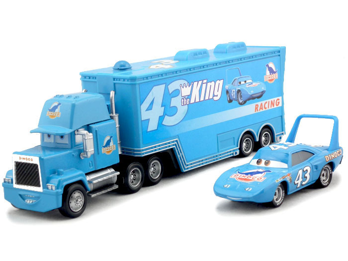 2pcs/set Pixar Cars #43 THE KING DINOCO & RACING UNCLE MACK CARS Hauler Truck Toy for Kids