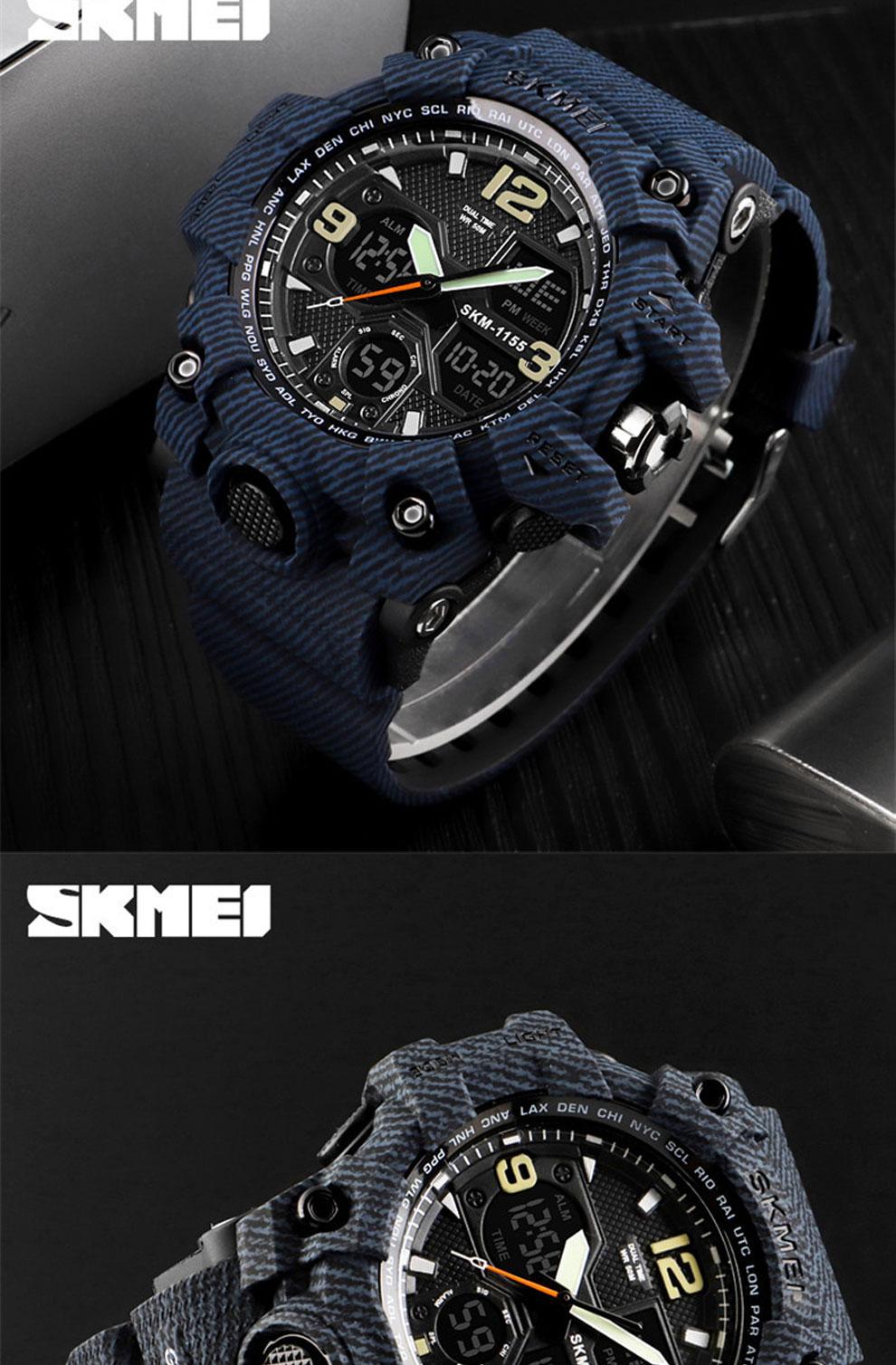 HTB1RzNuRwHqK1RjSZFEq6AGMXXaz SKMEI Brand Luxury Military Sports Watches Men Quartz Analog LED Digital Clock Man Waterproof Dual Display Wristwatches Relogio