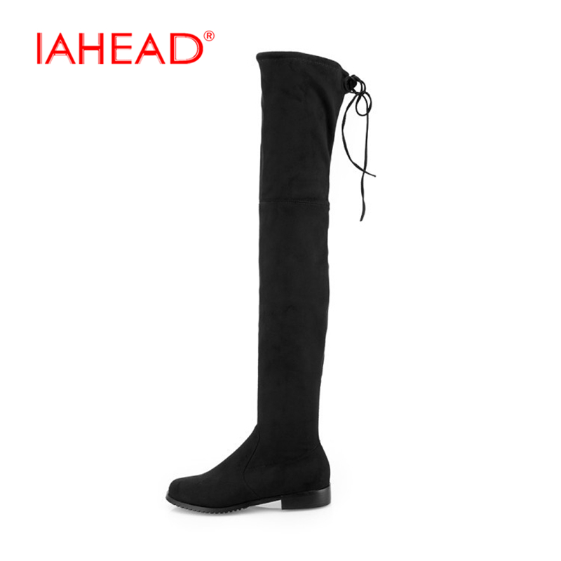 IAHEAD Slim Boots Sexy over the knee high Suede women snow boots women's fashion winter thigh high boots shoes woman UPA441 2018 new fashion winter thigh high boots green patchwork suede flats over the knee boots cowboy vintage long shoes narrow band