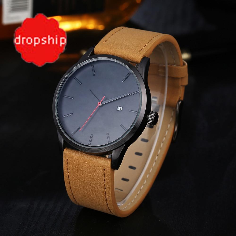 2017 Fashion Casual Mens Watches Top Brand Luxury Leather Business Quartz-Watch Men Wristwatch Relogio Masculino For dropshippin Ювелирное изделие