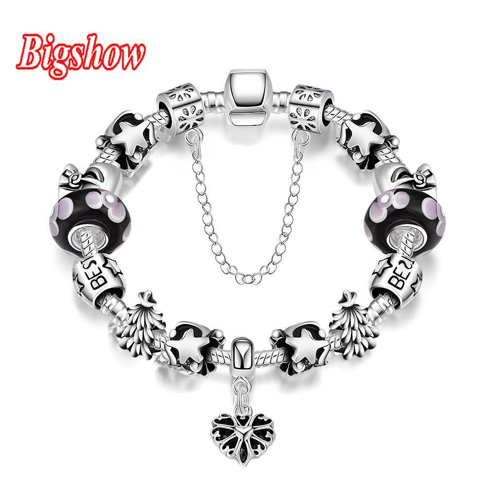 Silver Plated Jewelry Pan Bracelet Best Friend Charm Bracelets Colorful  Black Beads Star Pendant H004