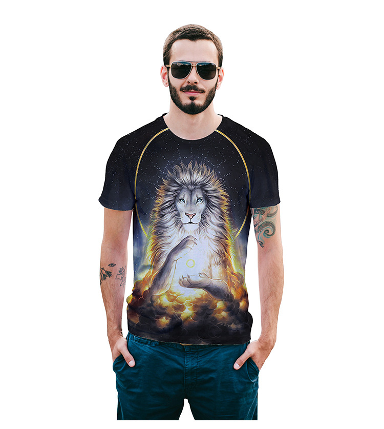 New Harajuku t-shirt Men Starry Sky 3D Fashion Lion Print Short Sleeve 100% EUR Size S~XXL Summer Hip Hop Funny Tops Tees