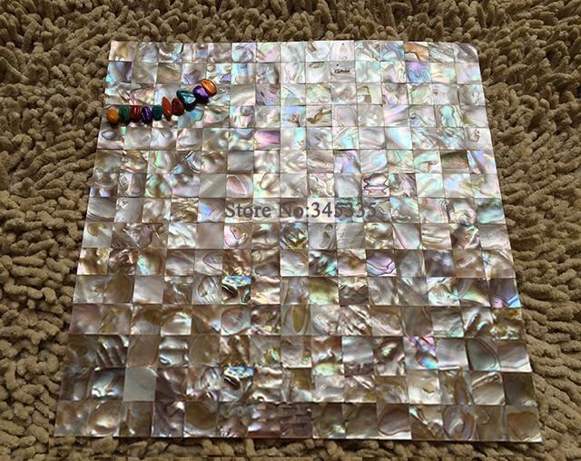 Tapete Auf Fliesen 11 stücke quadrat schale mosaik fliesen perlmutt küche backsplash
