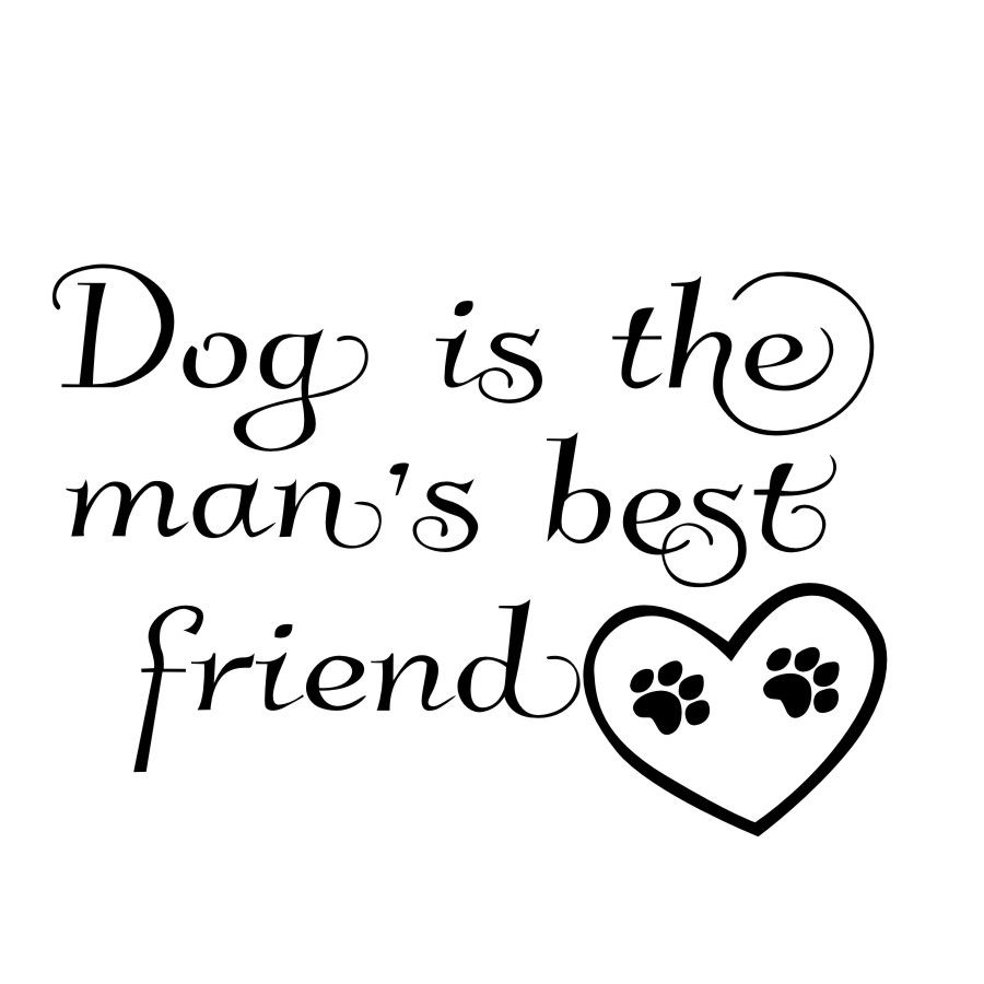 Dog Is The Mans Best Friend Vinyl Wall Stickers Dog Paw Pet Shop Quotes Wall Decor Living Room Removable Wall Decals Home Decor ...