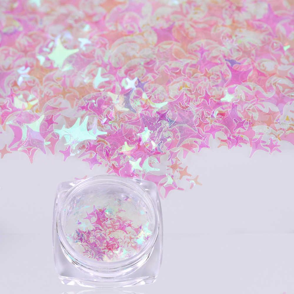 1 Box Kuku Seni Glitter Flakes Bintang 4 3D Payet Berwarna Merah Muda Desain Debu DIY Natal Dekorasi Bubuk Manikur Tips kuku TR192