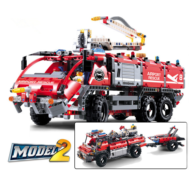 Diy Technic city Airport rescue vehicle Fire car firefighter Building Blocks Toys Compatible with Legoingly for kids GiftsDiy Technic city Airport rescue vehicle Fire car firefighter Building Blocks Toys Compatible with Legoingly for kids Gifts