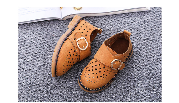Summer Children Shoes PU Leather Sport Shoes Buckle Strap Child Casual Kids Shoes For Girls Cut-Outs Martin Baby Boys Sneakers 12